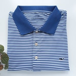 Vineyard Vines Mens L Striped Polo Shirt MINT